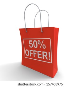Fifty Percent Off Shows Clearance Or Savings
