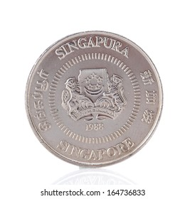 Fifty Singaporean dollar cents coin isolated on white