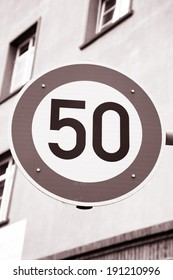 Fifty Speed Sign in Urban Setting