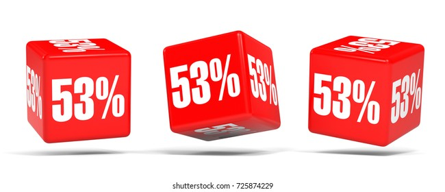 Fifty three percent off. Discount 53 %. 3D illustration on white background. Red cubes.