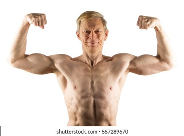Fifty-year-old man shows front double bicep isolated on white background