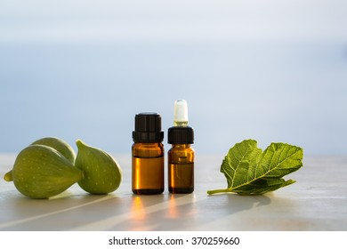 Fig aromatherapy essential oils in bottles