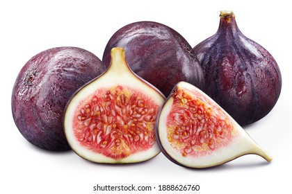 Fig fresh organic fruit. Figs isolated on white background. Ripe fresh fig clipping path.