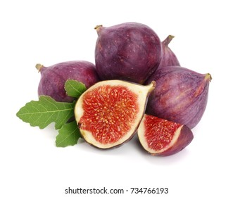 fig fruits with leaves isolated on white background