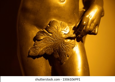 fig leaf covering the genitals of a female statue. iron Eva.