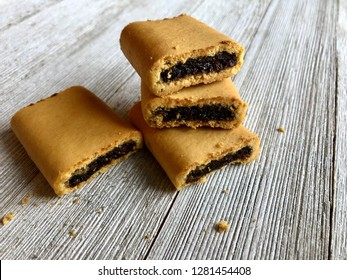 Fig newtons on a wooden table