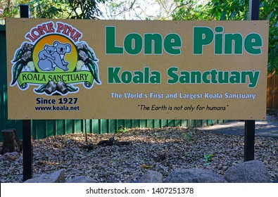 FIG TREE POCKET, AUSTRALIA -27 JUL 2018- View of a sign at the Lone Pine Koala Sanctuary, the oldest and largest koala sanctuary in the world near Brisbane, Queensland, Australia.