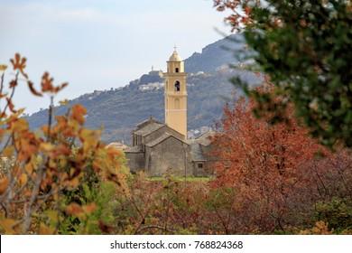 The Figarella Village on the Corsica Island in autumn