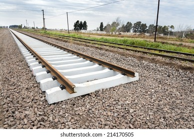 FIGHIERA, SANTA FE, ARGENTINA - AUGUST 30, 2014: A new railway is under construction to replace the old connection between Buenos Aires and Rosario on August 30, 2014, in Fighiera, Santa Fe, Argentina