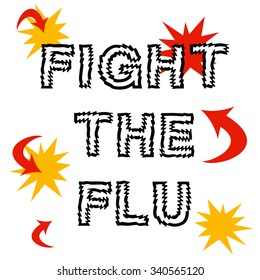fight the flu, red arrows and words on white illustration