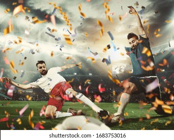 Fight for goal, reach cup. Professional sportsmen caught in moment of winning and confetti flying. Motion and action, reaching target, sport and healthy lifestyle concept. Competition, championship.