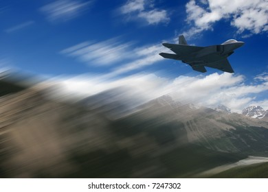 A fight jet flies by the Canadian Rockies.  Motion blur added for effect.