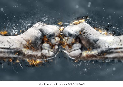 Fight, two fists hitting each other. Fire illustration.