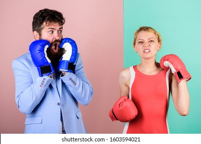Fight for your happiness. bearded man hipster fighting with woman. problems in relationship. sport. family couple boxing gloves. Strength and power. knockout punching. who is right. win the fight.
