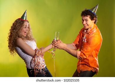 fightening couple posing in studio