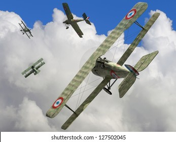 The fighter biplane of time period the World War I. 3D visualisation.