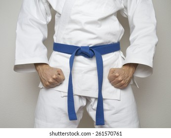 Fighter with blue belt martial arts
