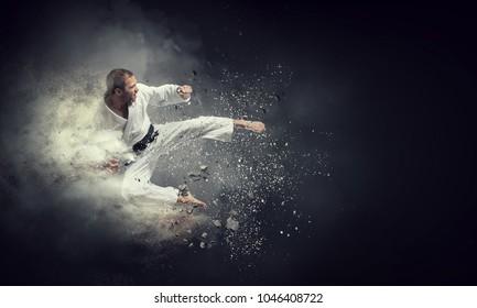 Fighter practising his art
