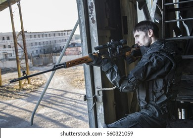 "Fighter of the Russian special forces ""sniper"" is on duty. Hunts down the aim."