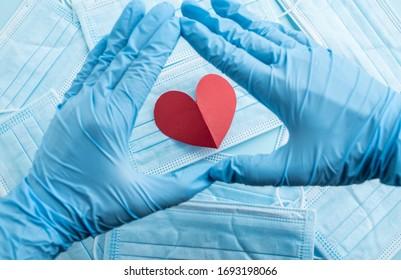 Fighting against the New Coronavirus epidemic, medical masks and hearts