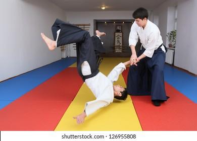Fighting art  Aikido . In sports to  hall dojo.