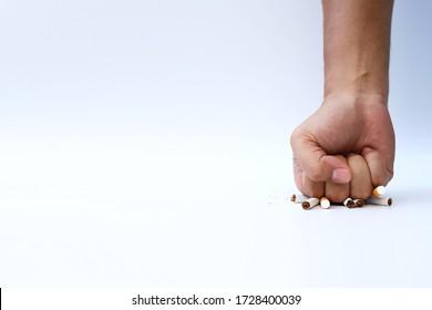 Fighting cigarette for lives on white background