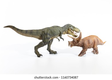 Fighting with the dinosaurs on white background.