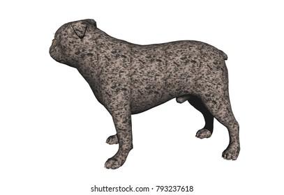 fighting dog 3D rendering
