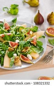 Fig,Melon and walnut salad