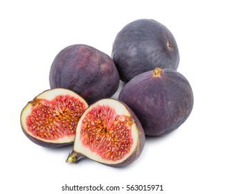 Figs with a cutted half isolated on a white background