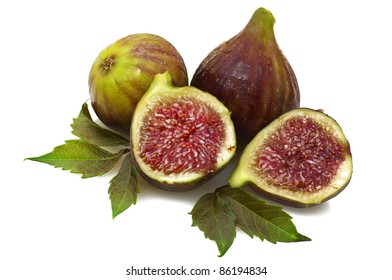 Figs and leaves on white