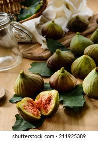 Figs on wooden board