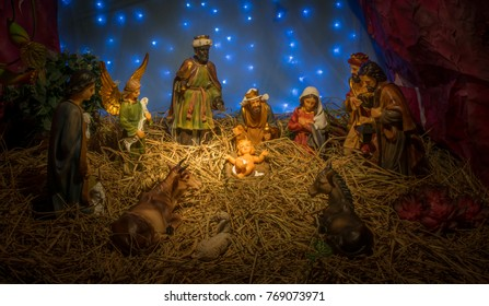 """Figture of even 'Birth of Jesus"""" in farm shed."""