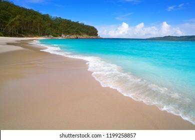 Figueiras nudist beach in Islas Cies island of Vigo in Spain