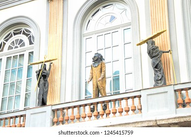 Figueras, Girona, Spain - January 02, 2015: Sculptures next to entrance to the Salvador Dali  Theatre and Museum in his home town of Figueres, in Catalonia, Spain.