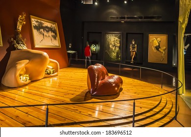 FIGUERAS, SPAIN - NOVEMBER 22, 2013: Famous Mae West room in Dali's Theatre - Museum building, opened on September 28, 1974 and housing the largest collection of works by Salvador Dali.