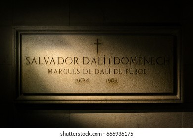 FIGUERES, SPAIN - April 12, 2013: Salvador Dali's Tomb in his museum. Dali is buried in a crypt below the stage.