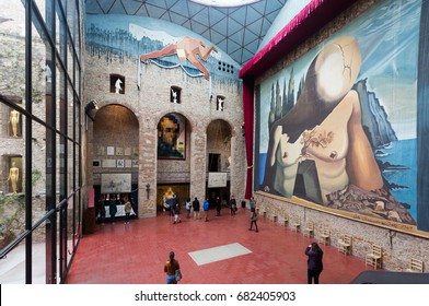 "FIGUERES, SPAIN - JANUARY 03, 2016: Hall with ""Curtain for labyrinth"" in The Dali Theatre and Museum (Teatre-Museu Dali), Catalonia"
