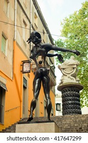 FIGUERES, SPAIN - OCTOBER 23, 2013: Sculpture on the design of Salvador Dali at the Square Gala-Salvador Dali in Figueres near the Theater-Museum Dali Salvador on October 23, 2013.