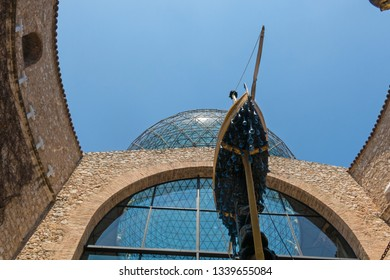 FIGUERES, SPAIN-JULY 17, 2017: the naval carriage, or the barque of Gala in Museum of Dali, in Figueres. The Dali Theatre is a museum of the artist Salvador Dali in Figueres town. Catalonia, Spain.