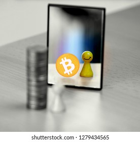 Figurative person in front of a mirror seeing his-/ herself smiling and possessing bitcoin