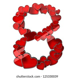figure 8 of hearts isolated on white background. high resolution 3d illustration