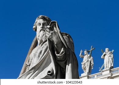 The figure of apostle Paul placed into the square of St. Peter's Cathedral, Vatican