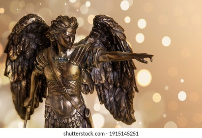 The figure of the Archangel Michael on an abstract background.
