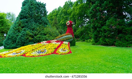 The figure of a bird's fire made of flowers.