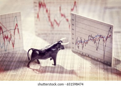 Figure of a bull with quote and charts