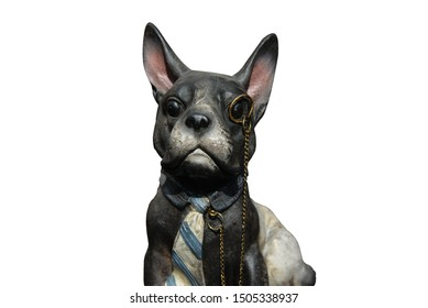 the figure of a dog in a tie and pince-nez on a white or dark background