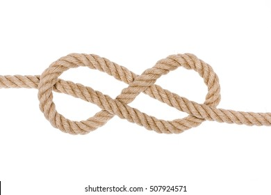 Figure eight knot isolated on white background.  Nautical rope knot.