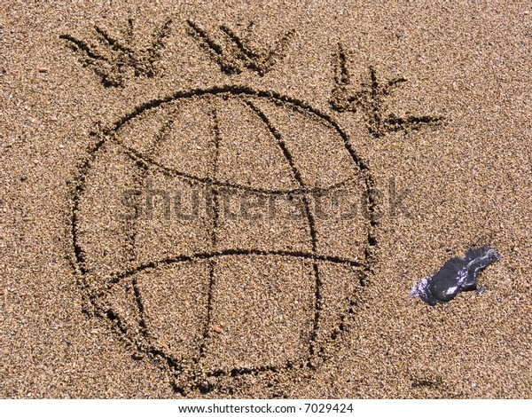 Figure of globe and WWW on wet sea sand