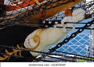 Figure head on old sailing ship